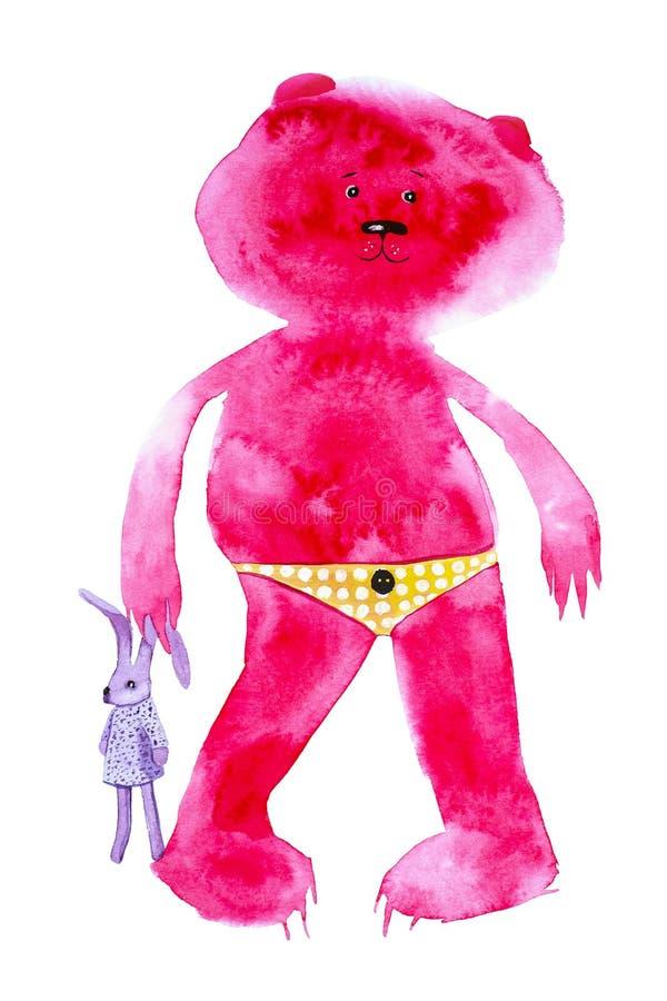 Roter Bär des Plüschs steht und hält einen Spielzeughasen durch das Ohr Komische Aquarellillustration lokalisiert auf weißem Hint stock abbildung