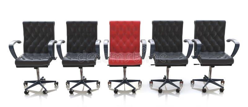 Roter Bürostuhl unter den schwarzen Stühlen lokalisiert auf weißem Hintergrund lizenzfreie abbildung