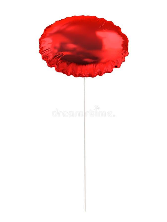 Roter Ballon auf einem Plastikstock stockbild