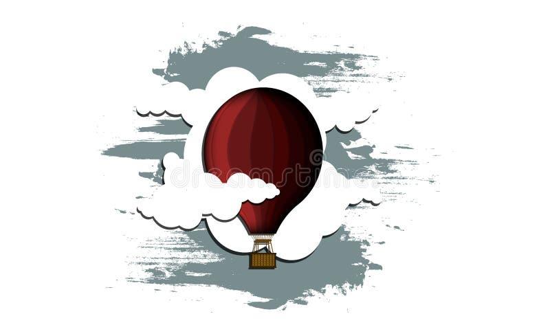 Roter Ballon mit einem Korb in den Wolken stockbilder