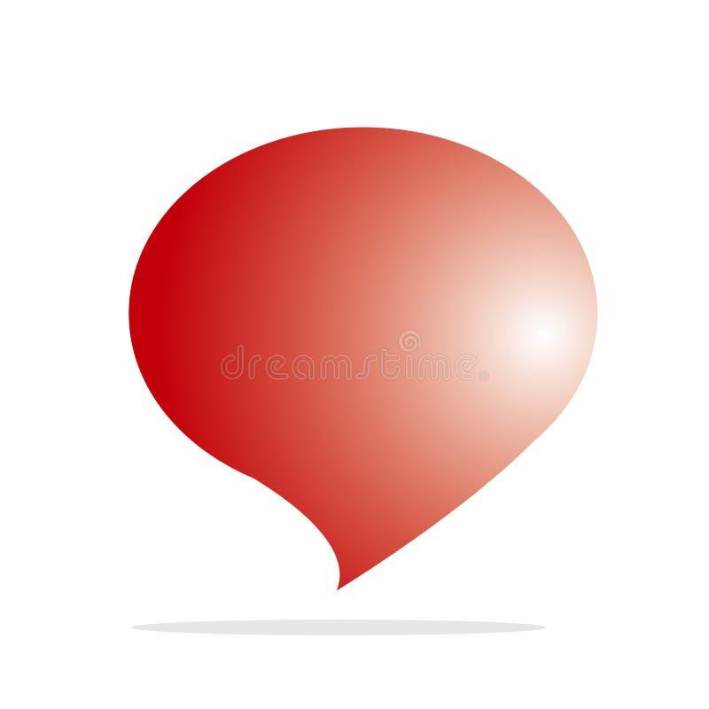 Roter Ballon mit unten gezeigt für Standort, Fahne, Ikone, Illustration lokalisierte weißen Hintergrund lizenzfreie abbildung