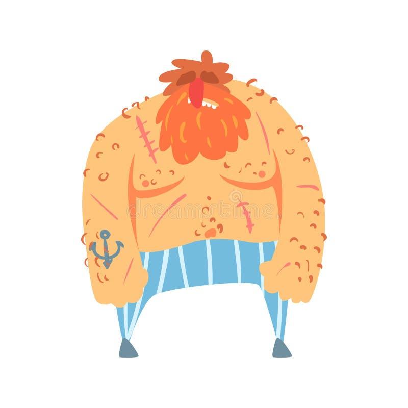 Roter Bart-schäbiger Pirat mit Anker-Tätowierung, Verschleppungstaktik-Schnitt-Kehlzeichentrickfilm-figur stock abbildung