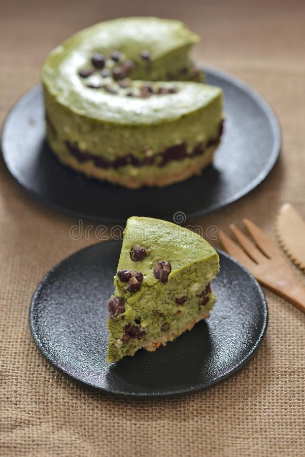Roter Bean Green Tea Cheese-Kuchen lizenzfreie stockfotos