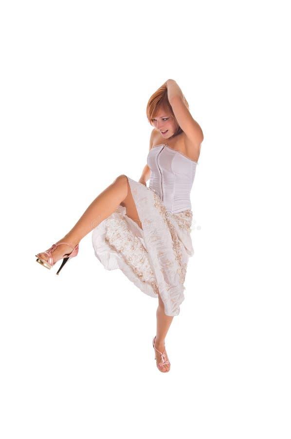 Roter behaarter Tänzer auf Weiß lizenzfreie stockbilder