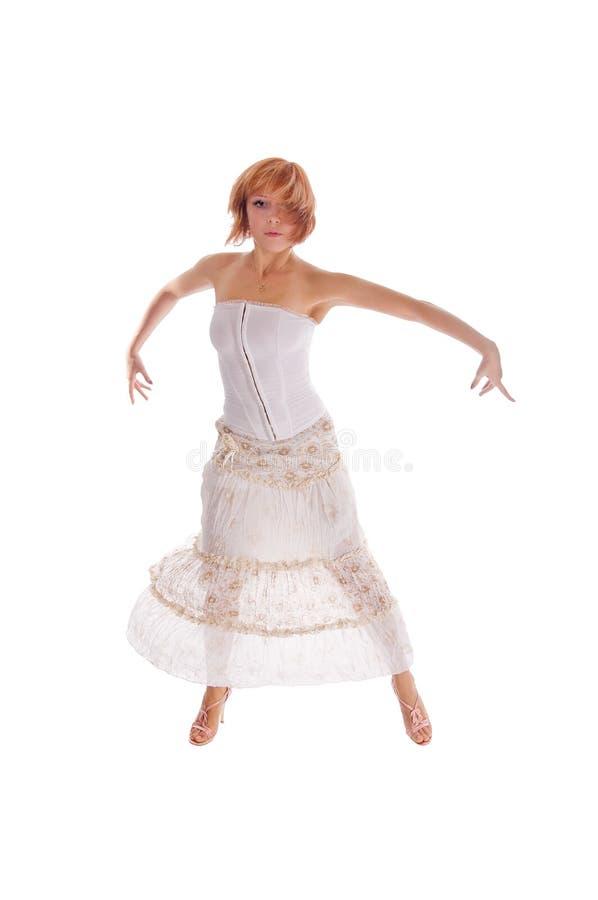 Roter behaarter Tänzer auf Weiß stockfotos