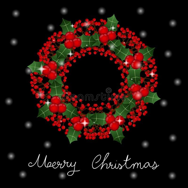 Roter Berry Christmas Wreath und weiße Schnee-Gruß-Karte auf schwarzem Hintergrund Auch im corel abgehobenen Betrag lizenzfreie abbildung