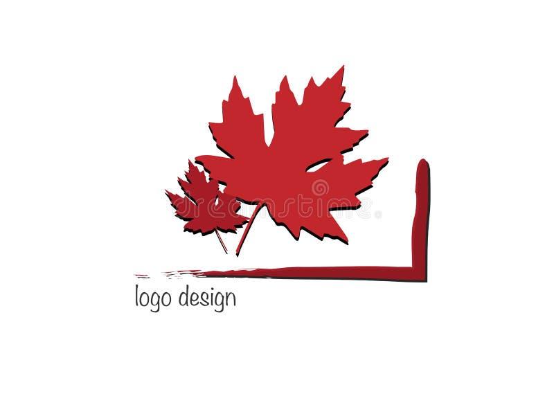 Roter Blattvektor des Herbstsatzahorns lokalisiert auf weißem Hintergrund Logoentwurfs-Naturkonzept vektor abbildung