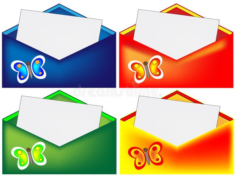 Roter, blauer, grüner und gelber Umschlag mit Schmetterling stock abbildung