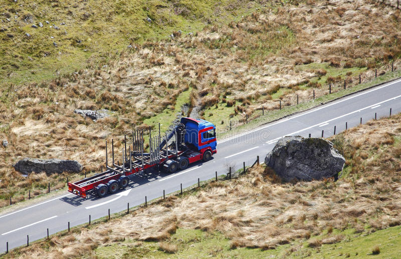 Roter blauer Lastwagen stockbilder