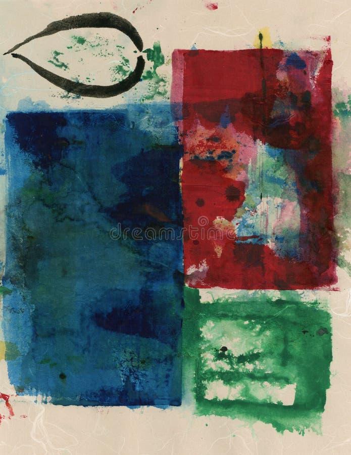Roter blauer und grüner Entwurf auf beige Beschaffenheits-abstrakter Malerei stock abbildung
