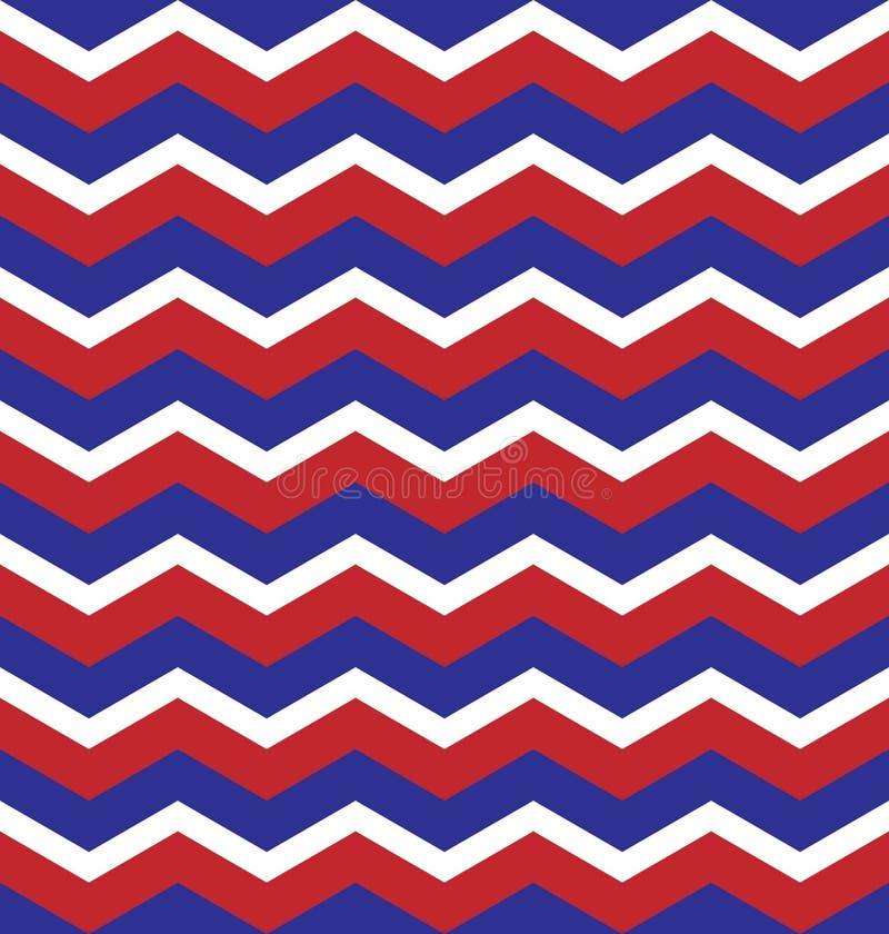 Roter blauer weißer nahtloser Hintergrund des Zickzackmusters lizenzfreies stockbild