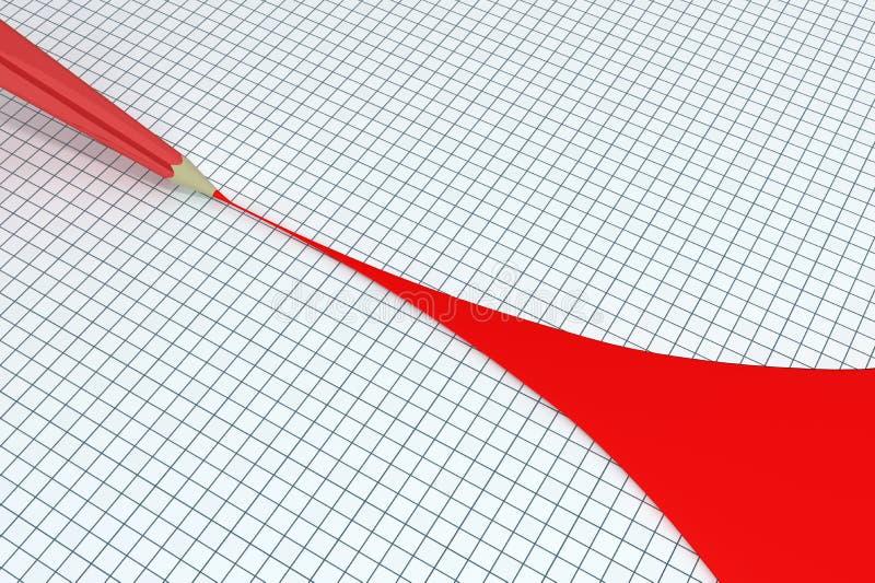 Roter Bleistift-abgehobener Betrag weit stock abbildung