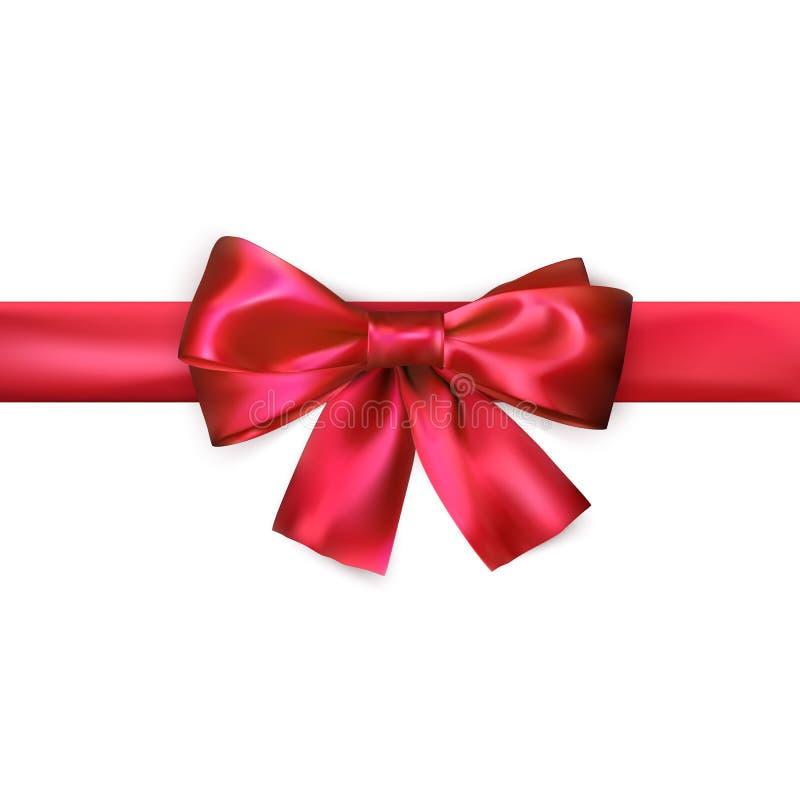 Roter Bogen mit dem Band lokalisiert auf weißem Hintergrund Realistischer silk Bogen Dekoration für Geschenke und verpackenden ro stock abbildung