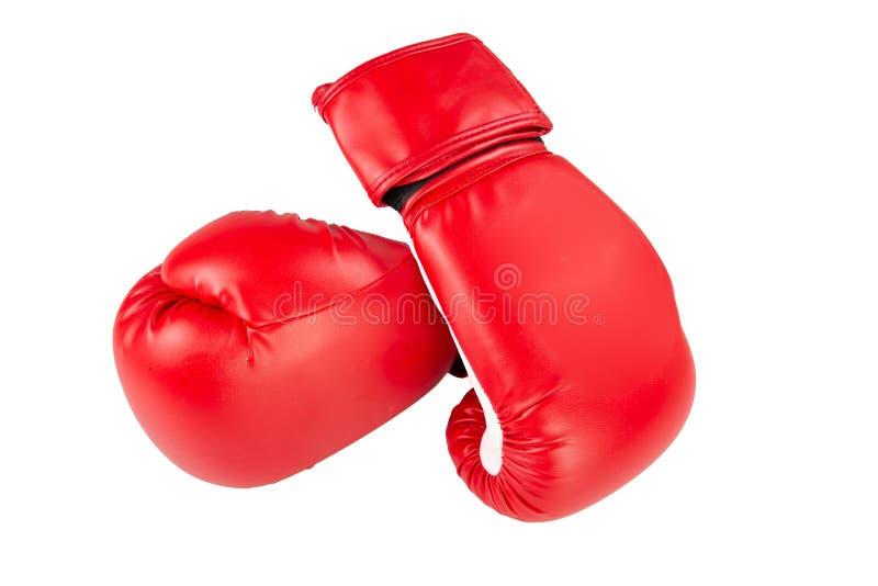 Roter Boxhandschuh zwei lokalisiert im weißen Hintergrund lizenzfreies stockbild