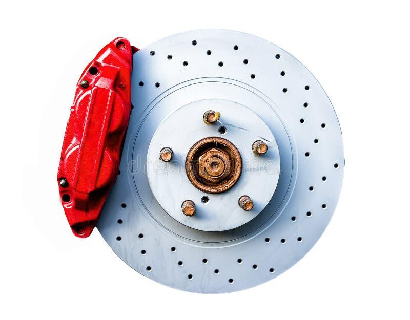 Roter Bremstasterzirkel und -scheibe lokalisiert lizenzfreies stockbild