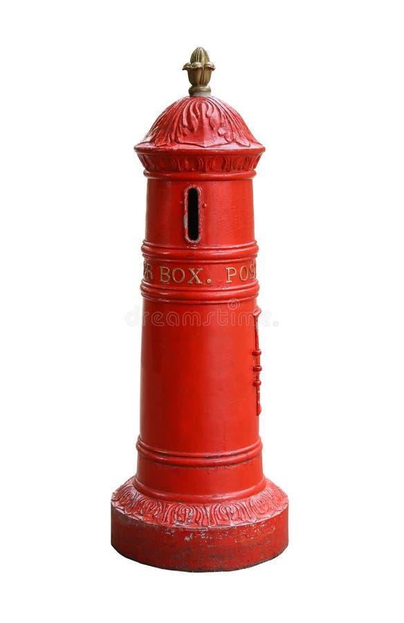 Roter Briefkasten Retro-, lokalisiert auf weißem Hintergrund stockbild