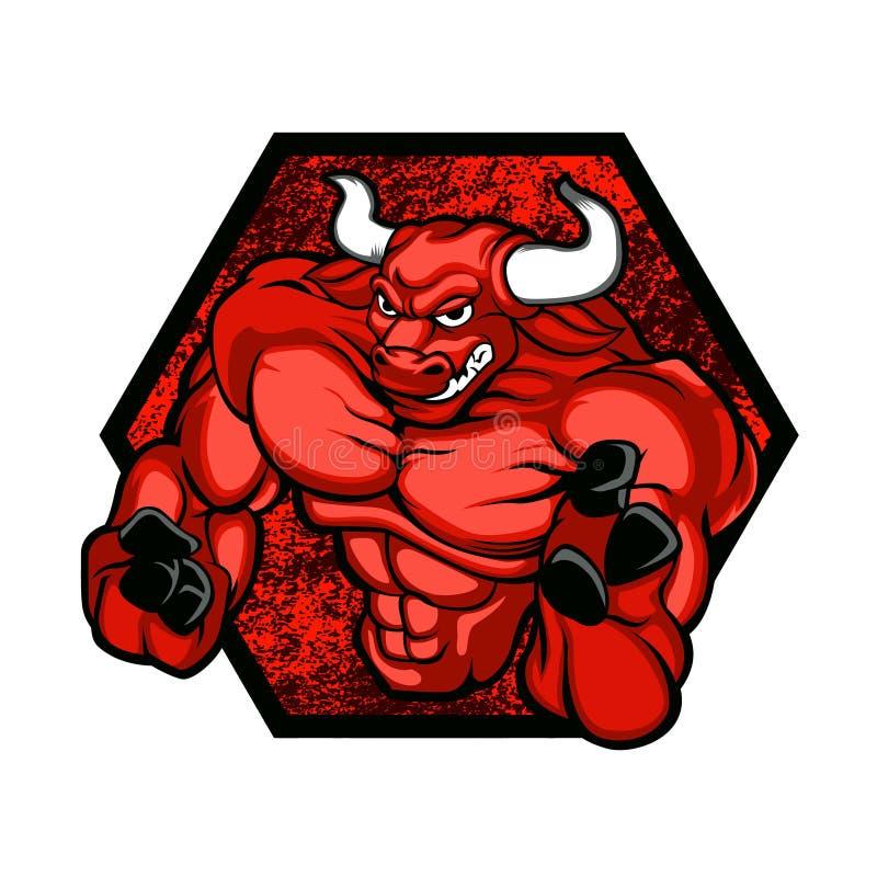 Roter bullBodybuilder stock abbildung