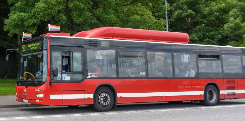 Roter Bus mit Stolzflaggen stockfotografie