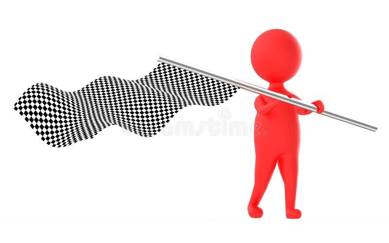 roter Charakter 3d, der eine Kontrolleurflagge wellenartig bewegt vektor abbildung