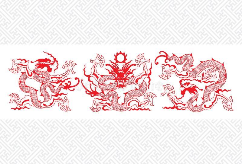 Roter chinesischer Drache stock abbildung
