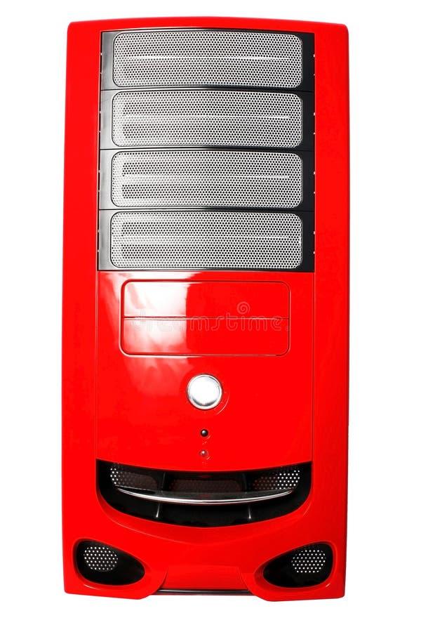 Roter Computerkasten getrennt auf Weiß lizenzfreies stockbild