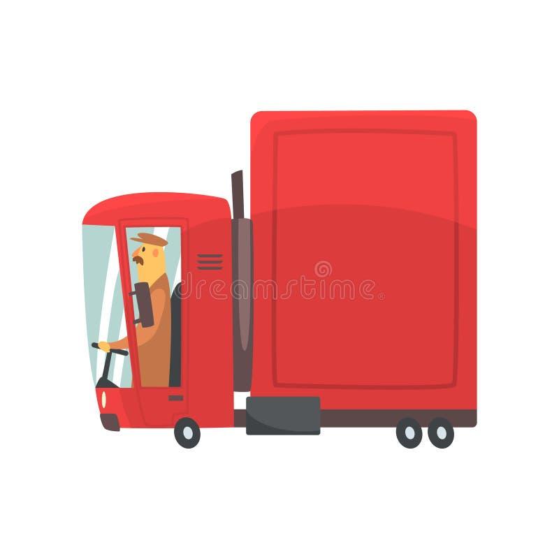 Roter der Karikatur LKW halb, Frachttransport-Vektor Illustration stock abbildung