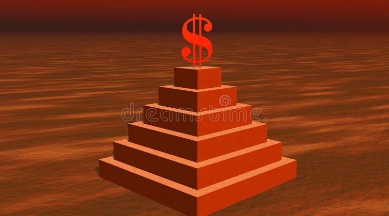 Roter Dollar auf einer Pyramide in der Wüste stock abbildung