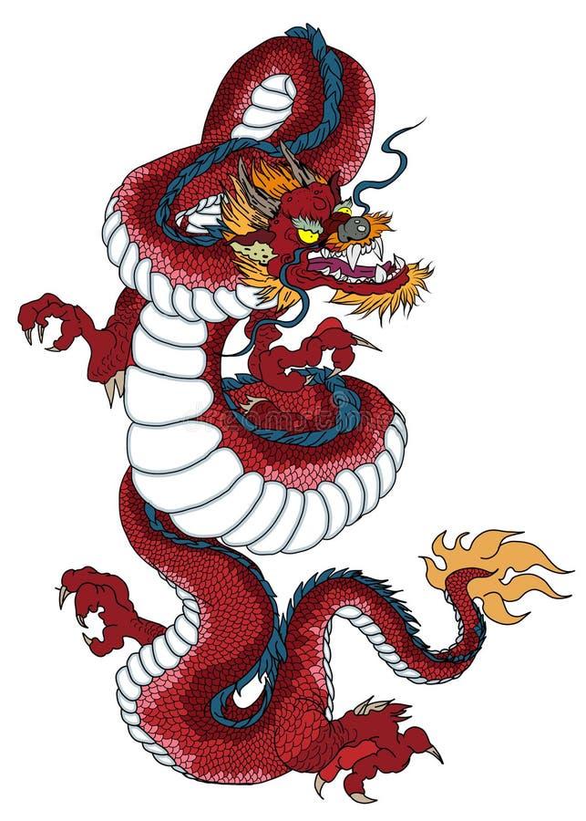 Roter Drache ist die magischen Geschöpfe, die in der chinesischen und Westliteratur bekannt sind Dragon Animal-Tätowierungsdesign stock abbildung