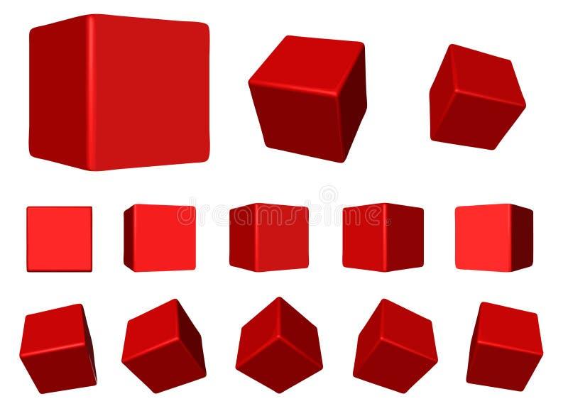 Roter drehender Würfel VEKTOR lizenzfreie abbildung