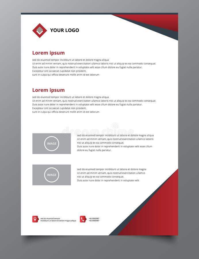 Roter Dreieckjahresberichtbroschürenfliegerdesign-Schablonenvektor vektor abbildung