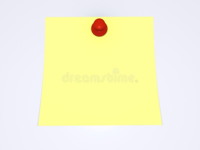 Roter Druckbolzen und gelbe Anmerkung vektor abbildung