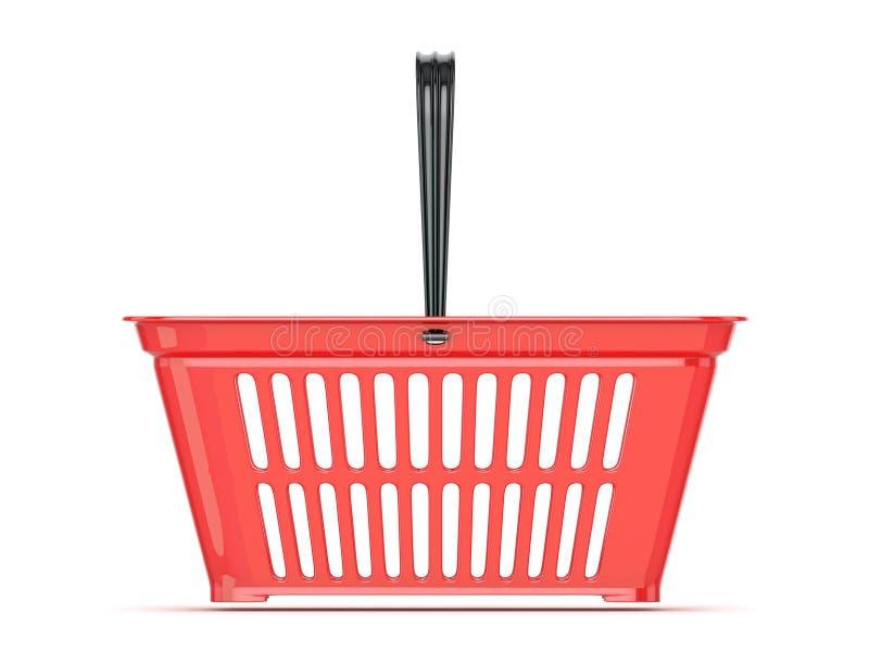 Roter Einkaufskorb Front View stock abbildung