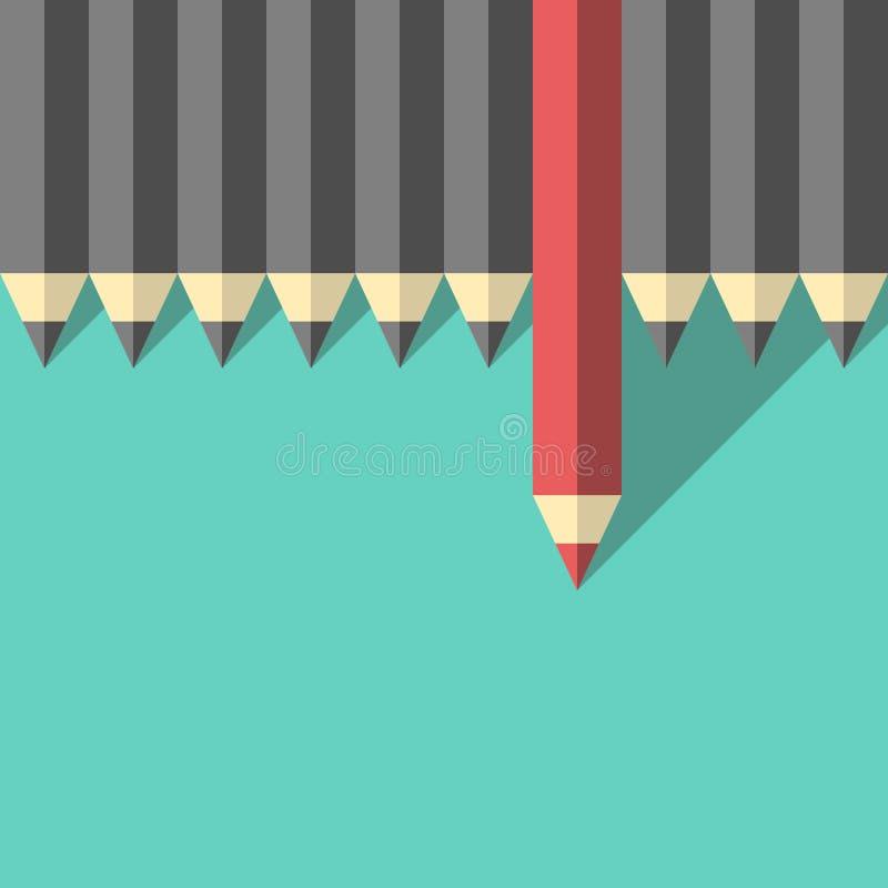 Roter einzigartiger unterschiedlicher Bleistift vektor abbildung