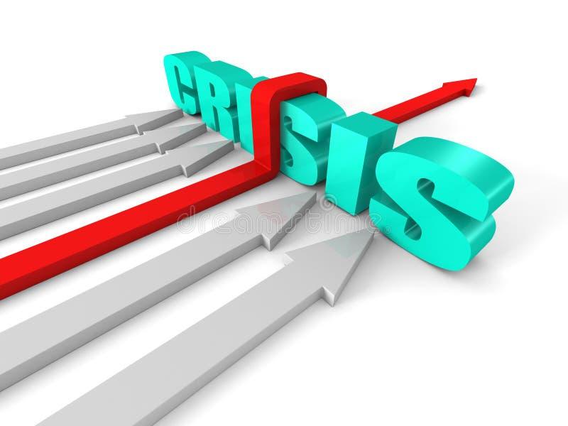 Roter erfolgreicher Pfeil, der KRISE Wort-Sperre überwindt Erfolgs-Bus lizenzfreie abbildung