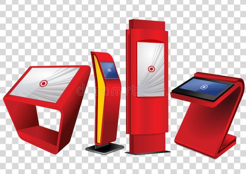 Roter fördernder wechselwirkender Kiosk der Informations-vier, Anzeige annoncierend, Terminalstand, Noten-Bildschirmanzeige vektor abbildung