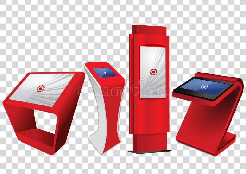 Roter fördernder wechselwirkender Kiosk der Informations-vier, Anzeige annoncierend, Terminalstand, Noten-Bildschirmanzeige stock abbildung