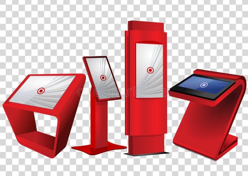 Roter fördernder wechselwirkender Kiosk der Informations-vier, Anzeige annoncierend, Terminalstand, Noten-Bildschirmanzeige lizenzfreie abbildung
