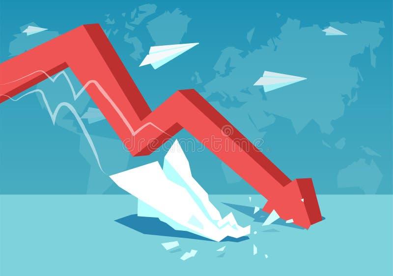 Roter fallender Pfeil für globales Krisenkonzept lizenzfreie abbildung