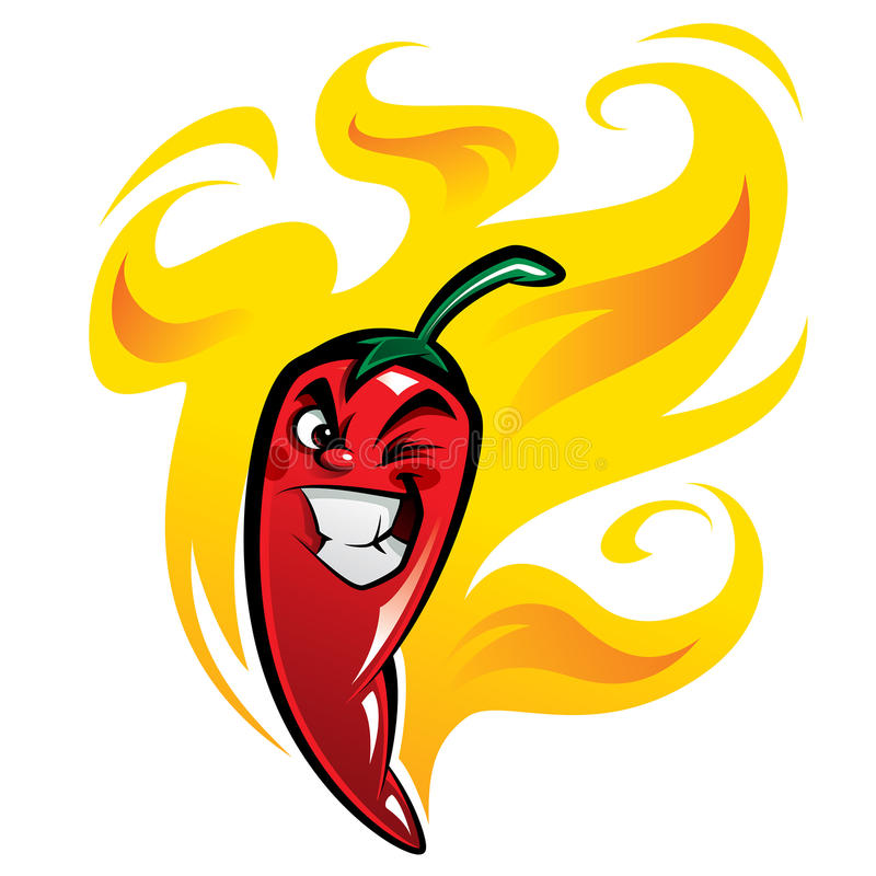 Roter falscher extrem heißer Karikaturpaprikapfeffercharakter auf Feuer lizenzfreie abbildung