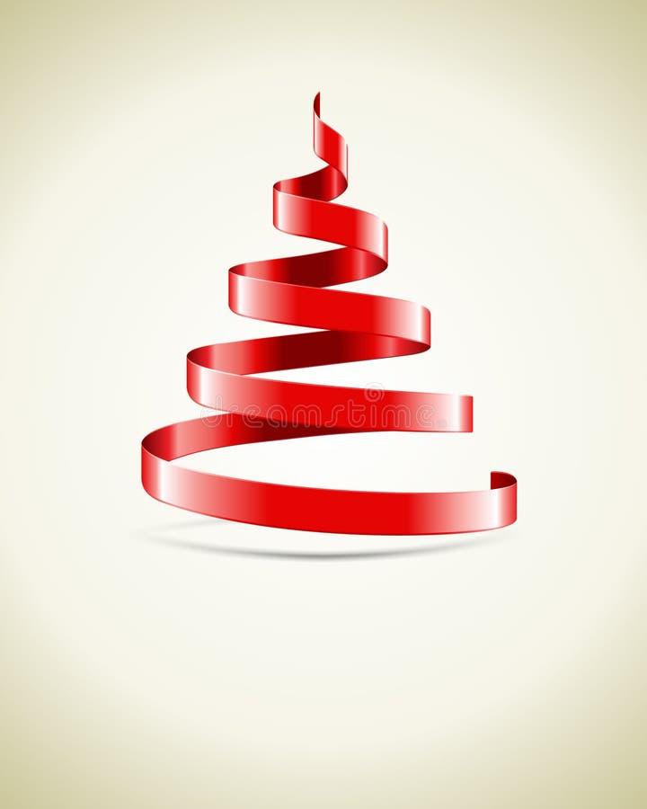 Roter Farbband Weihnachtsbaum lizenzfreie abbildung