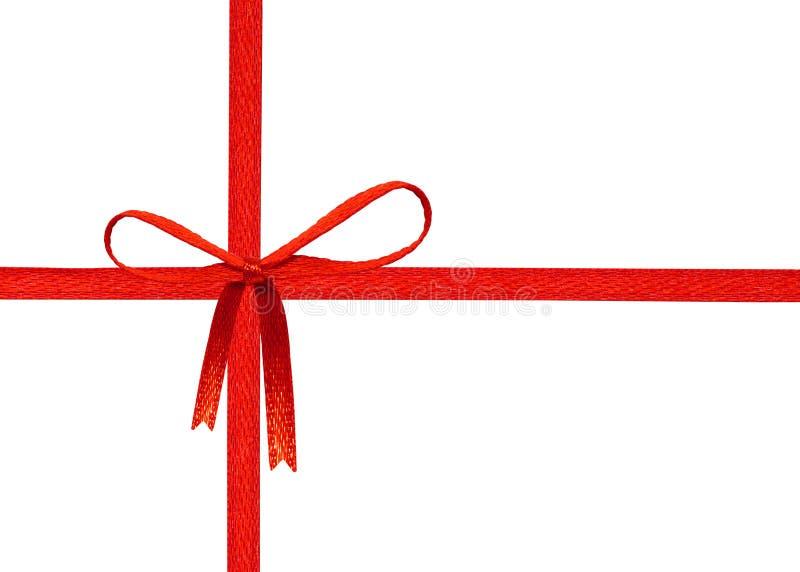 Roter Farbbandbogen getrennt auf wei?em Hintergrund Feieraufkleber für Ihren Entwurf Beschneidungspfadgegenstand lizenzfreie abbildung