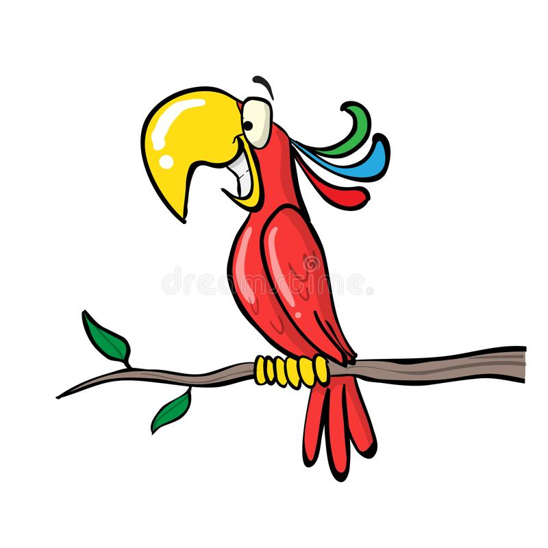 Roter farbiger Papagei stock abbildung