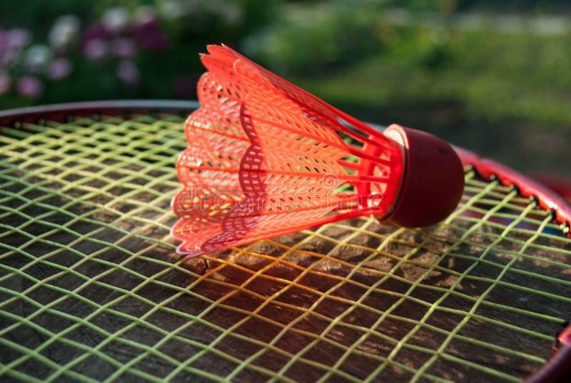 Roter Federball des Badminton stockfoto