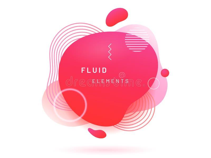 Roter flüssiger Klecks mit Linien und Kreis lizenzfreie abbildung