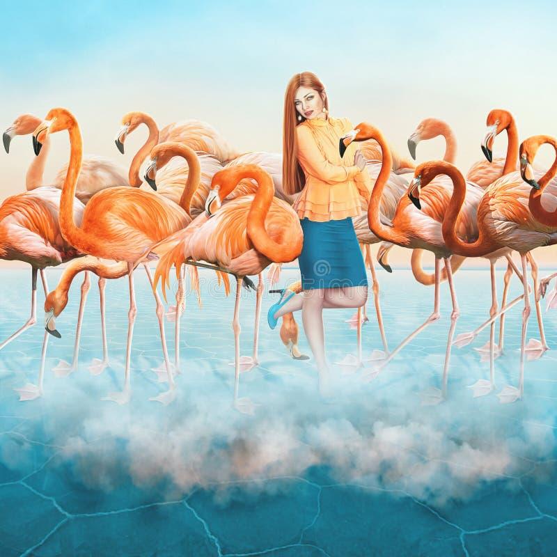 Roter Flamingo in der Wüste mit Wolken und elegantes gekleidetes oben Mädchen lizenzfreie stockbilder