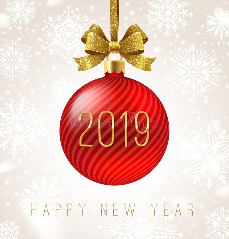 Roter Flitter des Feiertags mit Funkelngoldbogenband und Zahl des neuen Jahres 2019 glückliches neues Jahr 2007 stock abbildung