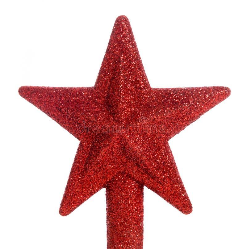 Roter Funkelnstern Weihnachtsbaumdeckel lizenzfreies stockbild
