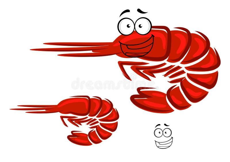 Roter Garnelencharakter der glücklichen Karikatur stock abbildung