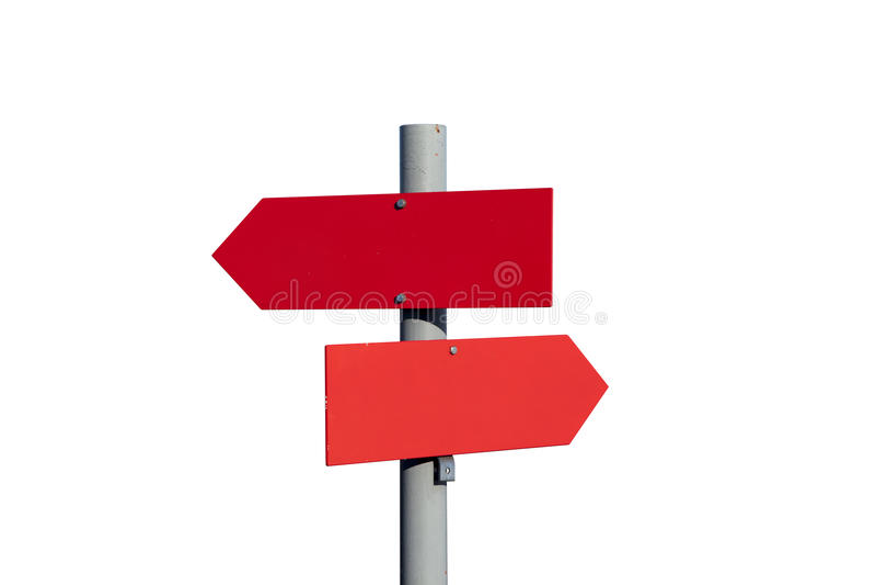 Roter Gebirgswegweiser, Beschneidungspfad lizenzfreies stockbild