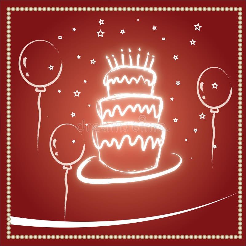 Roter Geburtstag- und Hochzeitskuchen stock abbildung